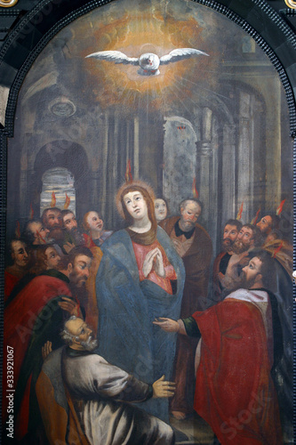 Pentecost, descent of the Holy Spirit, altar of the Holy Spirit in the Church of Canvas-taulu