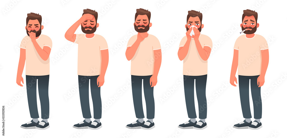 Fototapeta Symptoms of a viral infection and respiratory illness. A sick man coughs and sneezes. Headache, sore throat, runny nose, fever.