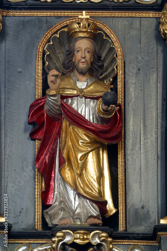Jesus Christ the Almighty, statue on the pulpit in the Church of Saint Catherine Canvas Print