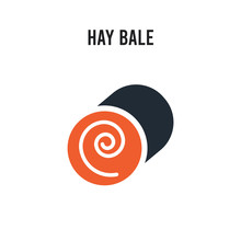 Hay Bale Vector Icon On White ...