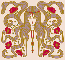 Girl With Poppies In Her Hair In Art Nouveau Style With, Hippie Girl