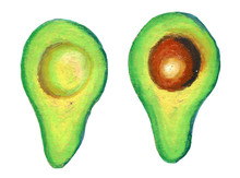 Hand Drawn Oil Pastel Green Avocado With A Seed Split In Two Halves Isolated On The White Background
