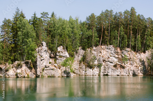 Fototapeta Beautiful landscape of Adrspach. Mountain lake in summer. obraz