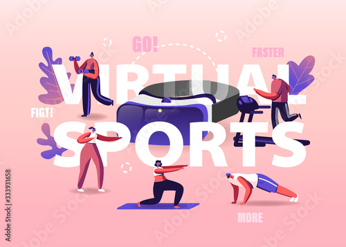Fototapeta People Use Virtual Reality Concept. Tiny Characters Wearing Vr Goggles Exercising on Treadmill, Fighting, Push Up, Augmented Reality Sports Workout Poster Banner Flyer. Cartoon Vector Illustration obraz