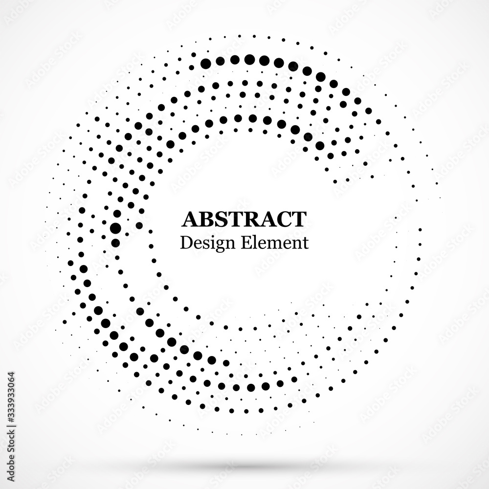 Fototapeta Abstract dotted halftone modern pattern background.Black decorative design halftone round circle elements isolated on white.Circular abstract vector background consisting of dots.