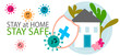 Covid 19, coronavirus protection, stay at home, self isolation campaign background, poster vector. Covid-19 Social distancing protect prevention. Home quarantine concept design.
