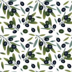 Panel Szklany Do pizzerii Fresh olives hand drawn background. Doodle wallpaper vector. Colorful seamless pattern with olive branches