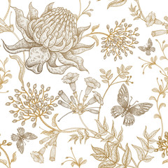 Panel Szklany Podświetlane Vintage Exotic flowers and butterflies. Seamless vector floral pattern style vintage luxury fabrics. Unusual art illustration for textiles, paper, curtains, clothing, case phone cover. White and gold foil.