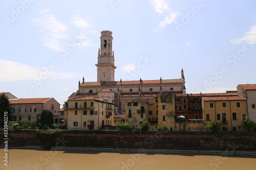 VERONA - panorama of the Archbishopric with the cathedral tower Canvas Print