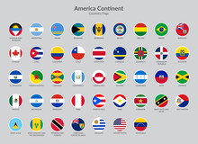 America Continent Countries Fl...