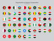Organisation of Islamic Cooperation Countries flag icons collection