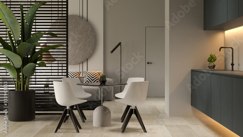 Obraz Minimalist Interior of modern living room 3D rendering - fototapety do salonu