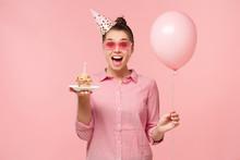 Excited Birhday Girl Celebrati...