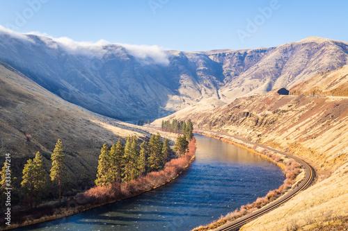 Amazing landscape -  big blue river among hills Canvas Print