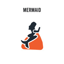 Mermaid Vector Icon On White Background. Red And Black Colored Mermaid Icon. Simple Element Illustration Sign Symbol EPS
