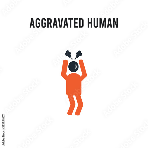 aggravated human vector icon on white background Canvas Print