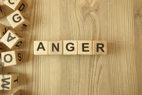 Fényképezés Word anger from wooden blocks