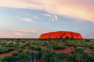 Uluru rock at sunset, Red Center Outback, Northern Territory, Australia. Approved for commercial use