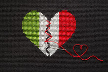 Broken Heart Of Italy Flag Color.