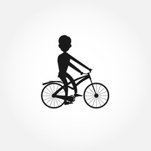 Man Rides A Bicycle Silhouette...