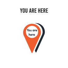 You Are Here Vector Icon On White Background. Red And Black Colored You Are Here Icon. Simple Element Illustration Sign Symbol EPS