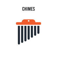 Chimes Vector Icon On White Ba...