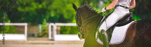 Fototapeta Dressage horse and rider in black uniform closeup. Horizontal banner for website header design. Equestrian sport competition, copy space. obraz