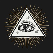 The Eye Of Providence In The Triangle Shining. All Seeing Eye Occult Vintage Vector Illustration