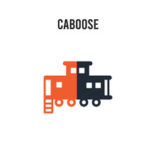 Caboose Vector Icon On White B...