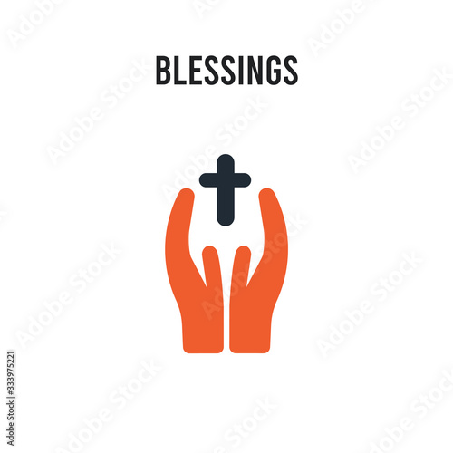 Photo blessings vector icon on white background