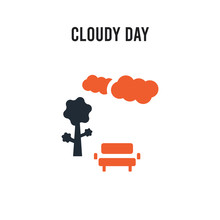 Cloudy Day Vector Icon On Whit...