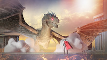 A Fantastic Dragon  Versus Man In The City Render 3d