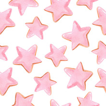 Watercolor Hand Drawn Pink Stars Seamless Pattern On White Background.Can Be Used As Invitation Template, Scrapbooking, Wallpaper,layout,fabric,textile,wrapping Paper