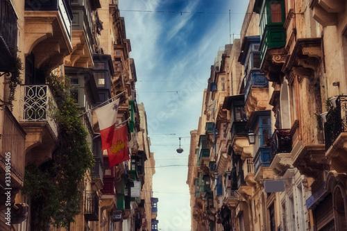 Valletta, Malta empty street in Malta capital city. lockdown