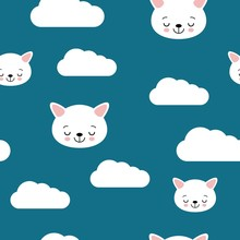 Seamless Pattern With Cats Sleeping On Clouds. Endless Texture Can Be Used For Wallpaper, Pattern Fills And Baby Greeting Cards.