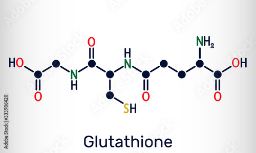 Fototapeta Glutathione, GSH, C10H17N3O6S molecule. It is an important antioxidant in plants, animals and some bacteria. Structural chemical formula obraz