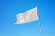 Waving white flag. Blank flag on flagpole mockup