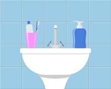 Bathroom Sink With Cosmetic Li...