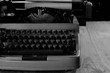 black and white retro typewriter letter