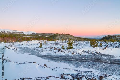 Fototapeta Snowy mountain road - Volcano Etna in Sicily