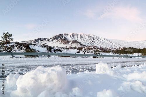 Obraz na plátně Snowy mountain road - Volcano Etna in Sicily