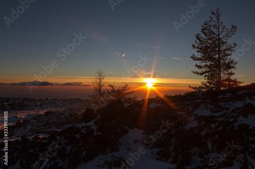 Obraz na plátně Sunrise on Etna mountain covered snow - Monti Sartorius