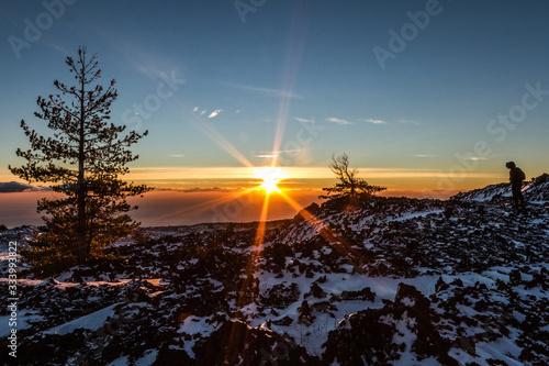 Fotografie, Obraz Sunrise on Etna mountain covered snow - Monti Sartorius