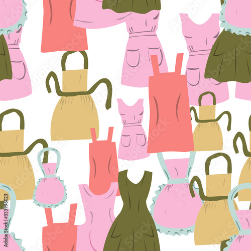 Vintage aprons seamless pattern on white background. Canvas Print