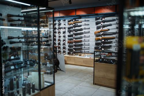 Rifle choice, showcase in gun shop, nobody Canvas Print