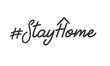 Stay Home Slogan. Lettering St...
