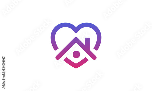 Cuadros en Lienzo Stay home heart sticker icon for quarantine company coronavirus covid