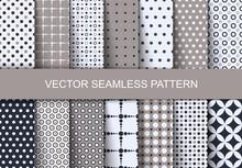 Seamless Patterns Autumn Polka Dots Set. Vector Illustration