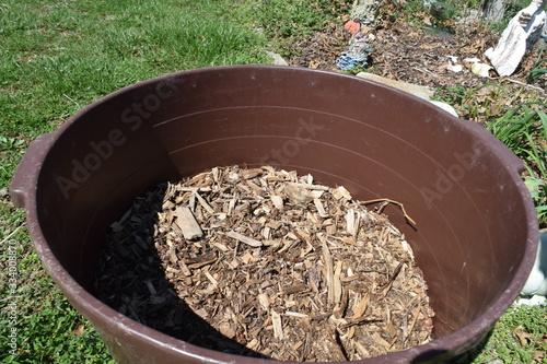 Tub of Mulch Wood Chips