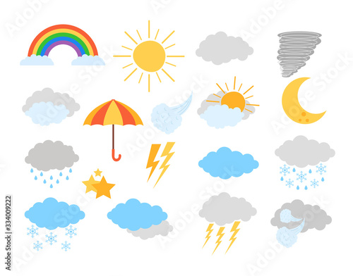 Weather meteorology icon elements isolated set. Vector flat graphic design cartoon illustration Wall mural